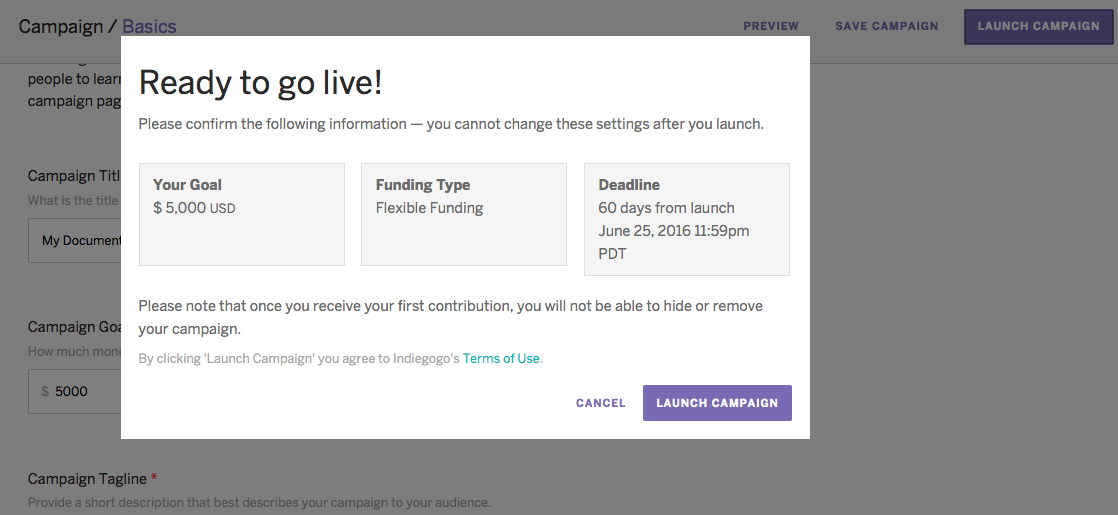 Create a Campaign (Step-by-Step) – Indiegogo Help Center